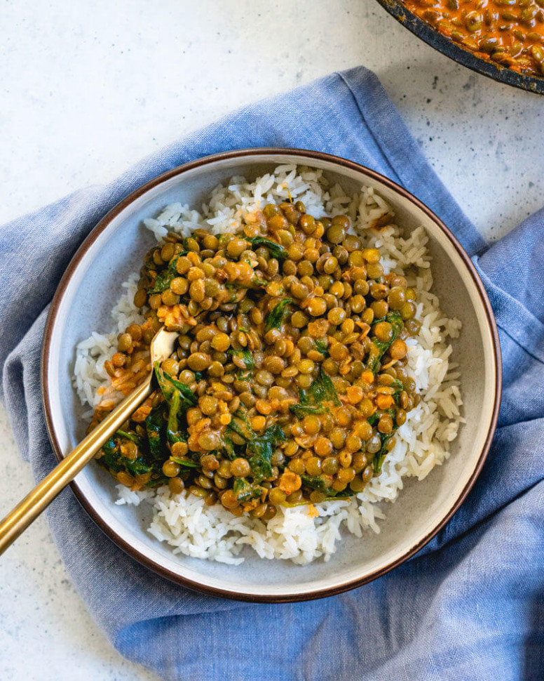 Coconut Lentil Curry with Greens - quick easy recipes dinner