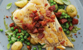 Cod And Chorizo With Pesto Potatoes And Peas | Food Recipes ..