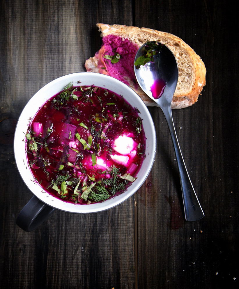 Cold beet soup with bread - lunch recipes vegetarian
