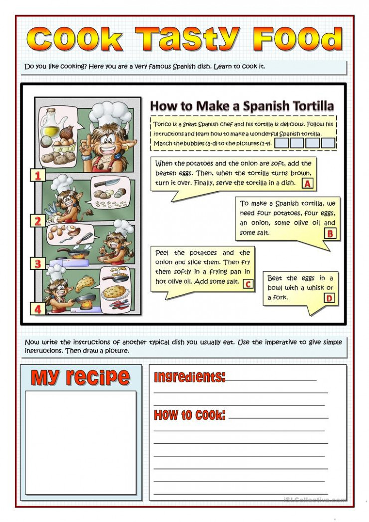 COOK TASTY FOOD - RECIPES AND IMPERATIVES - English ESL ..