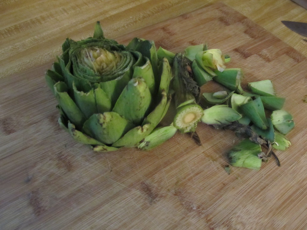 Cooking an artichoke: Trimming the leaves