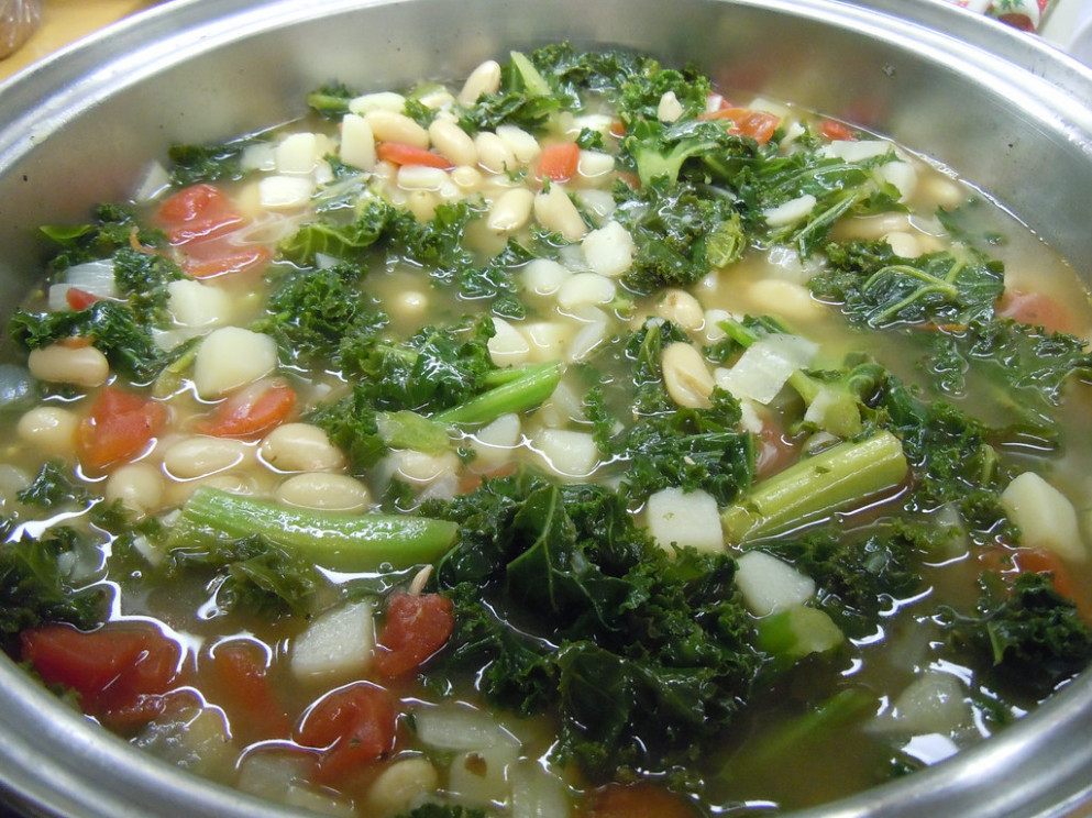 Cooking Vegetarian Kale Soup - recipe vegetarian onion soup