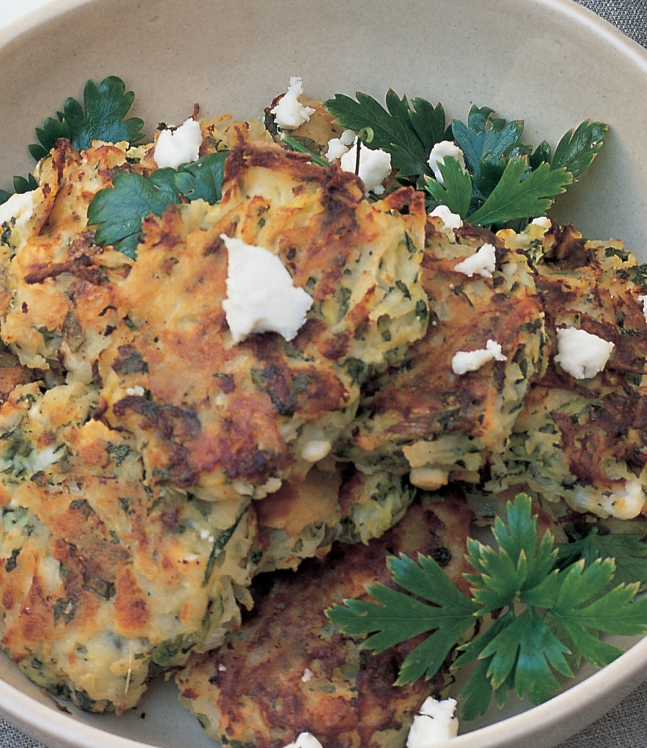 Courgette and Potato Cakes with Mint and Feta Cheese - mint recipes vegetarian