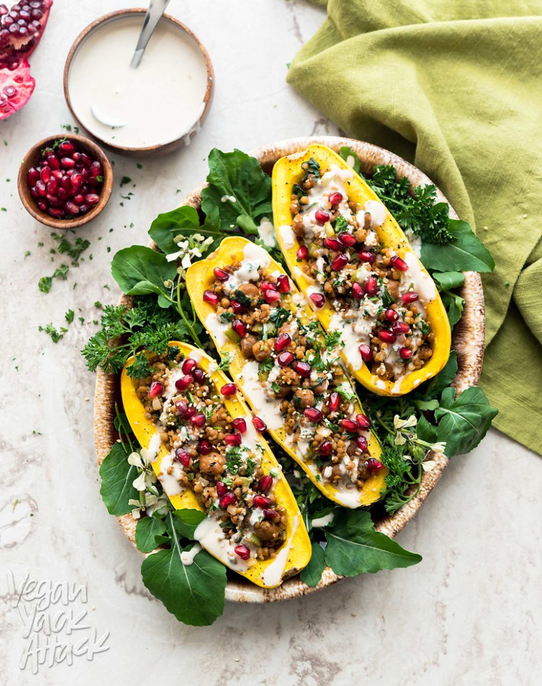 Couscous-Stuffed Delicata Squash - healthy dinner recipes vegetarian