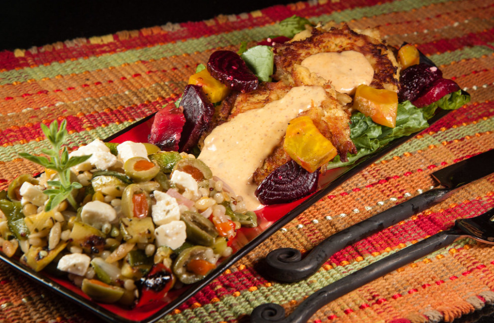 Crab Cakes, Roasted Beets and Grilled Vegetable Harvest Grains Blend - food network zucchini recipes