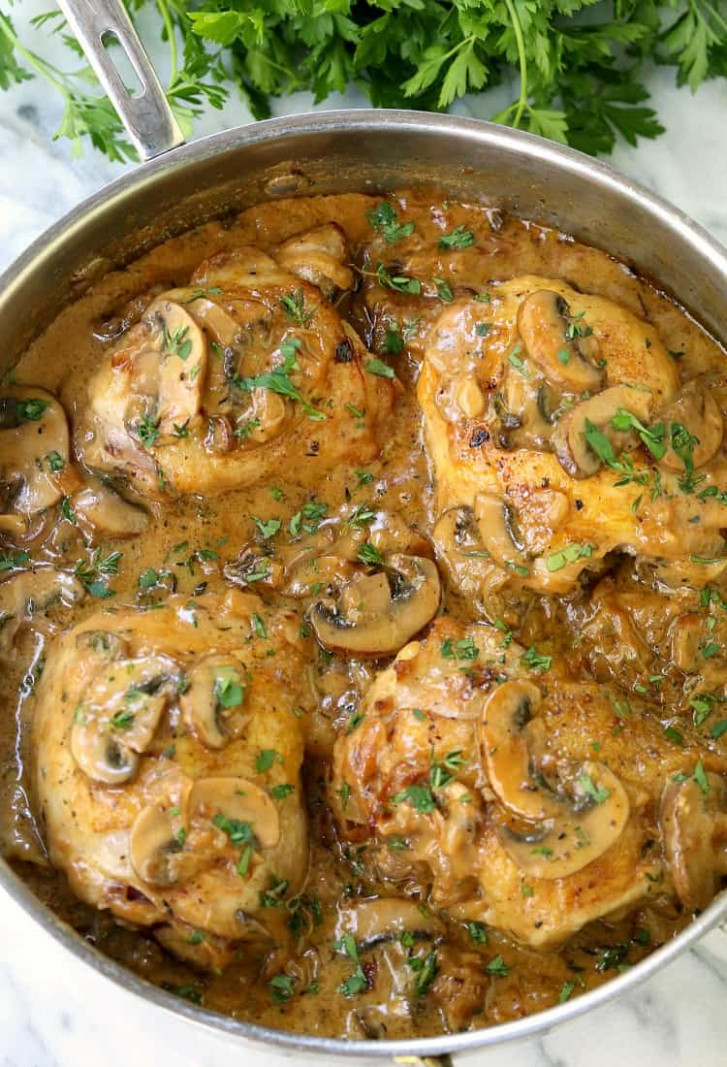 Creamy Caramelized Onion Chicken Thighs   Skillet Chicken Recipe - chicken recipes stove top