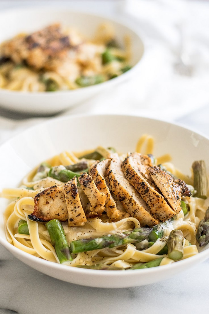 Creamy Chicken and Asparagus Pasta Dinner for Two - Baking ..