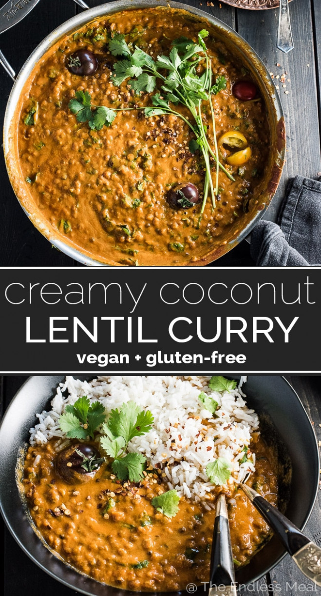 Creamy Coconut Lentil Curry | The Endless Meal® - vegetarian recipes indian dinner