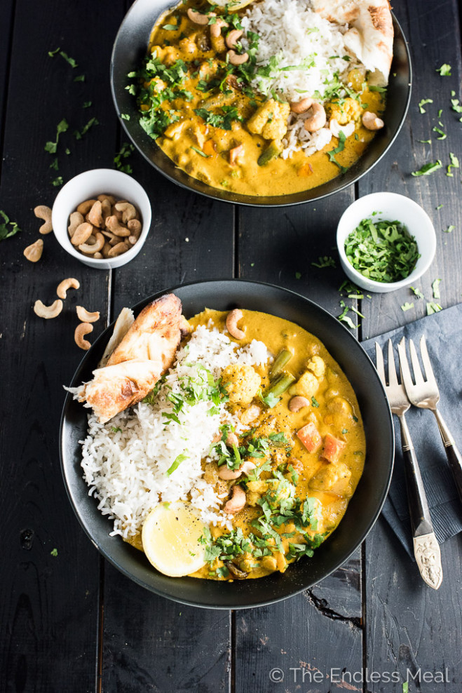 Creamy Coconut Vegetarian Korma | The Endless Meal - Dinner Recipes Indian Vegetarian Easy