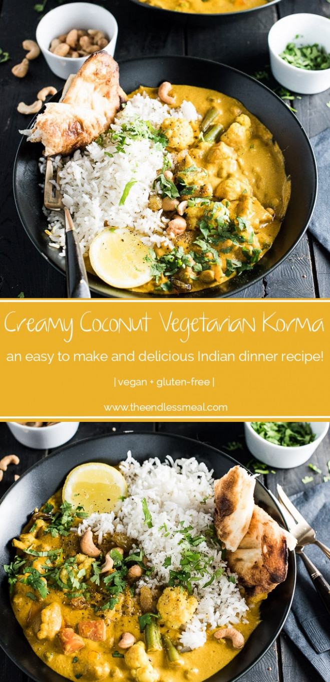 Creamy Coconut Vegetarian Korma | The Endless Meal® - indian recipes dinner vegetarian