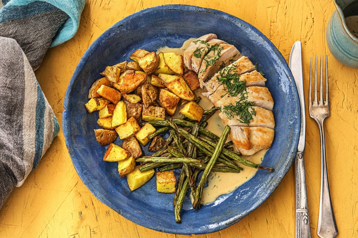 Creamy Dill Chicken With Roasted Potatoes And Green Beans - Chicken Recipes Hello Fresh