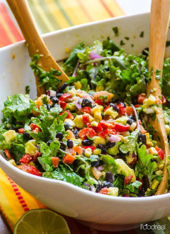 Creamy Mexican Kale Salad - iFOODreal - Healthy Family Recipes - healthy mexican recipes