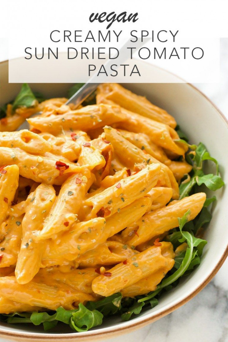 Creamy Spicy Sun Dried Tomato Pasta - creamy pasta recipes vegetarian