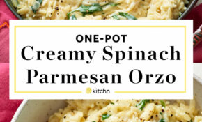 Creamy Spinach Parmesan Orzo – Spinach Recipes Dinner