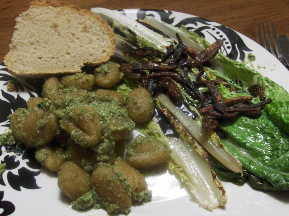crisp gnocchi grilled romaine and bread - recipes with gnocchi vegetarian