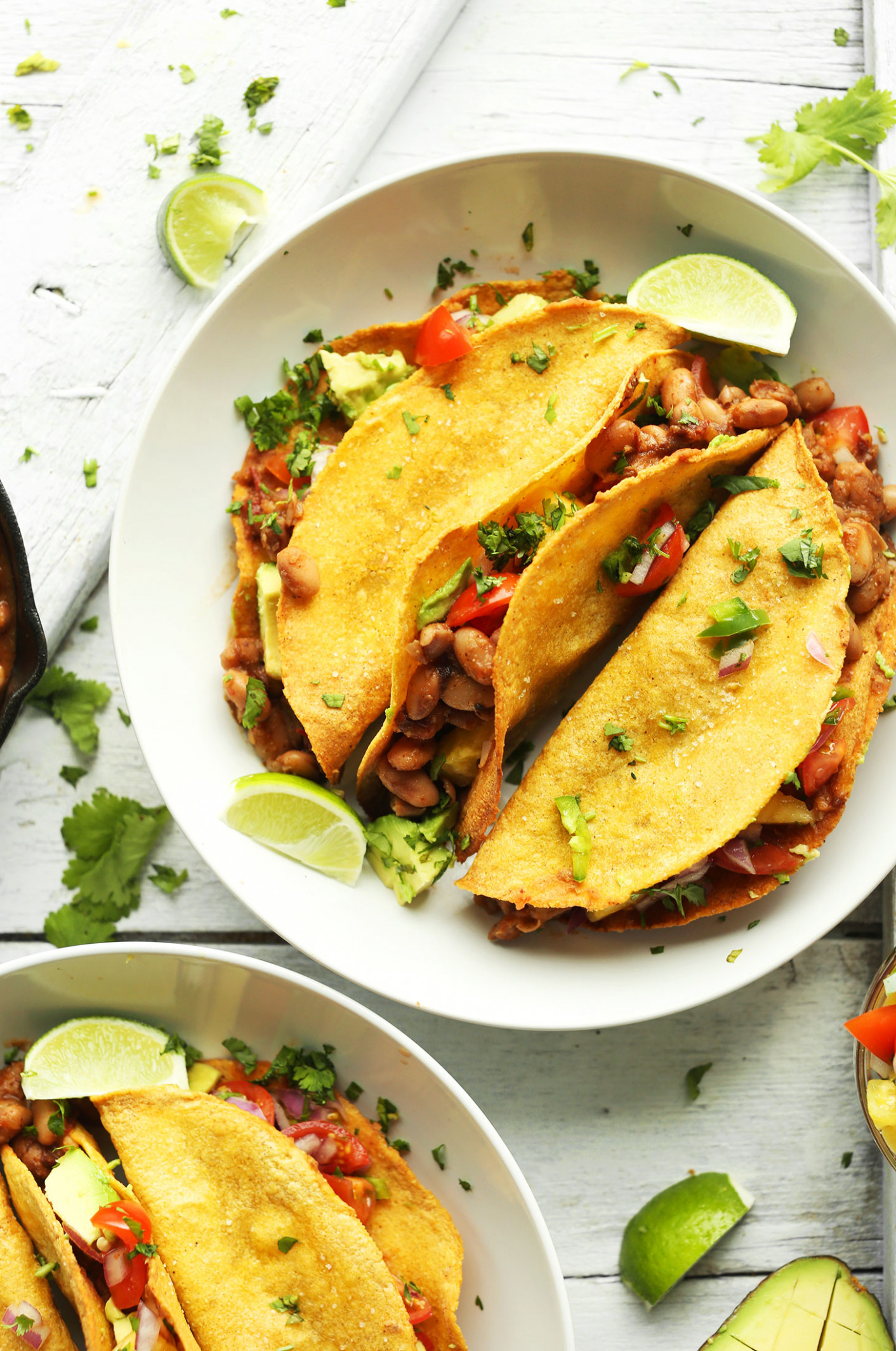 Crispy Baked Tacos with Pineapple Salsa - recipe vegetarian tacos filling