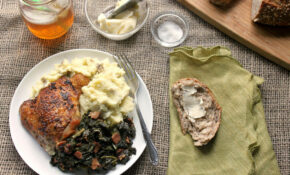 Crispy Chicken Thighs With Braised Kale And Mashed Potatoes Recipe – Kale Recipes Dinner