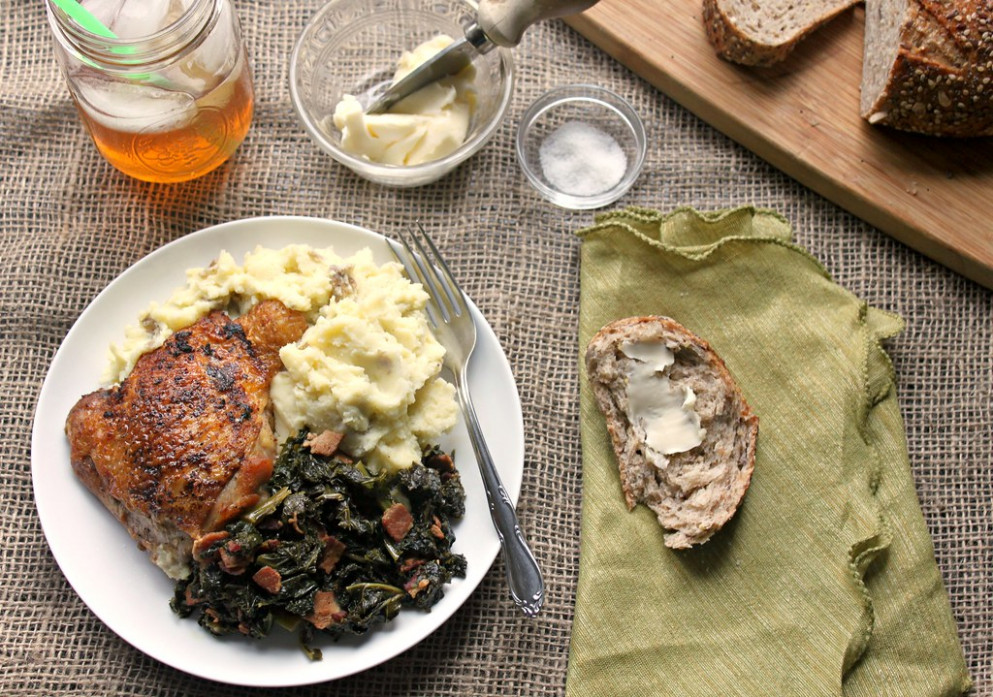 Crispy chicken thighs with braised kale and mashed potatoes recipe - kale recipes dinner