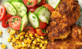 Crispy Chicken With Brown Butter Corn And Cucumber Tomato ..