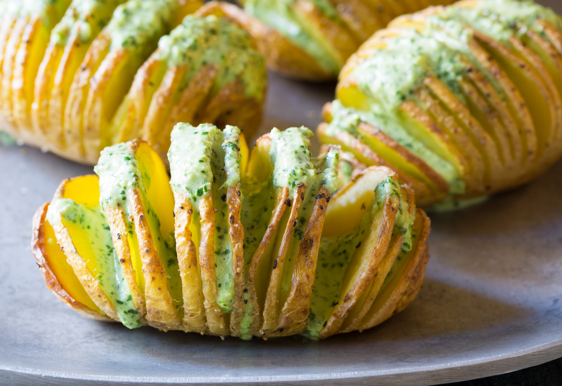 Crispy Hasselback Potatoes with Jalapeno Cilantro Sauce - recipes pioneer woman food network