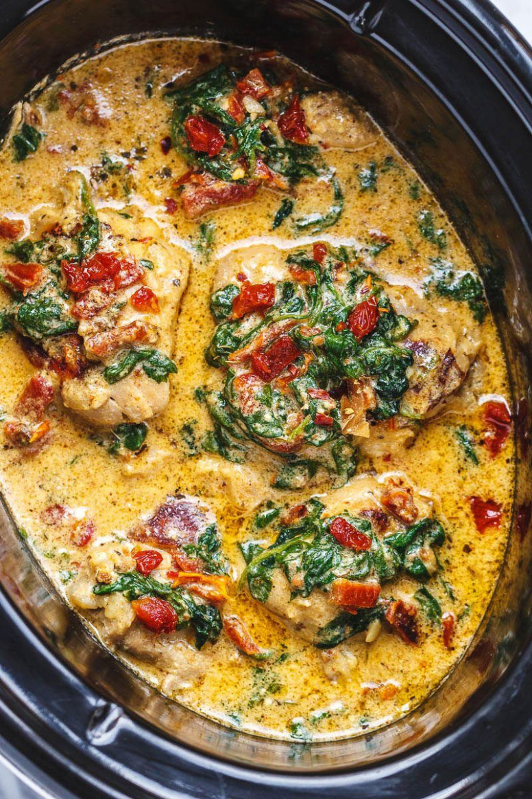 Crock Pot Tuscan Garlic Chicken With Spinach And Sun Dried ..