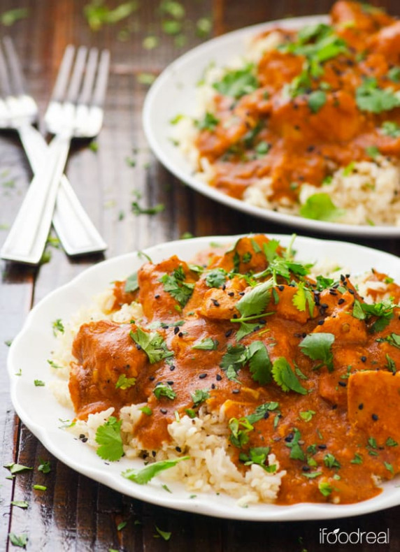 Crockpot Butter Chicken - iFOODreal - healthy chicken recipes in the crockpot