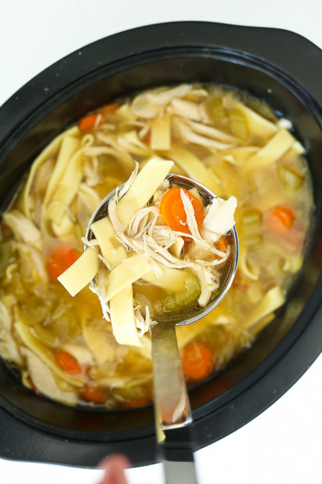 Crockpot Chicken Noodle Soup Recipe - Happy Healthy Mama - chicken noodle soup recipes
