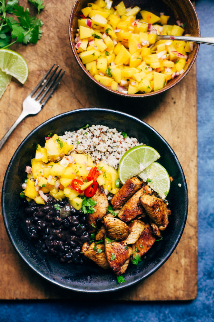 Cuban Mojo Chicken Quinoa Bowls with Mango Salsa Recipe ..