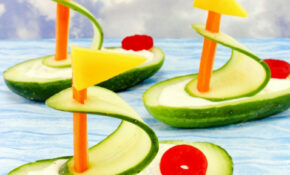 Cucumber Boat Shaped Snack For Kids – Natural Beach Living – Ocean Themed Food Recipes