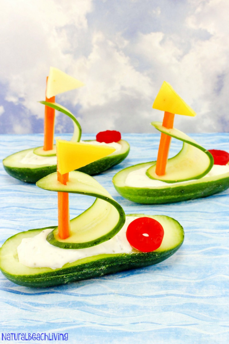 Cucumber Boat Shaped Snack For Kids - Natural Beach Living - Ocean Themed Food Recipes