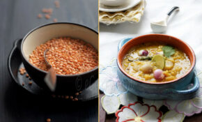 Dal Chenchki – Red Lentils With Pearl Onions Diptych 1 – Recipe Vegetarian Red Curry