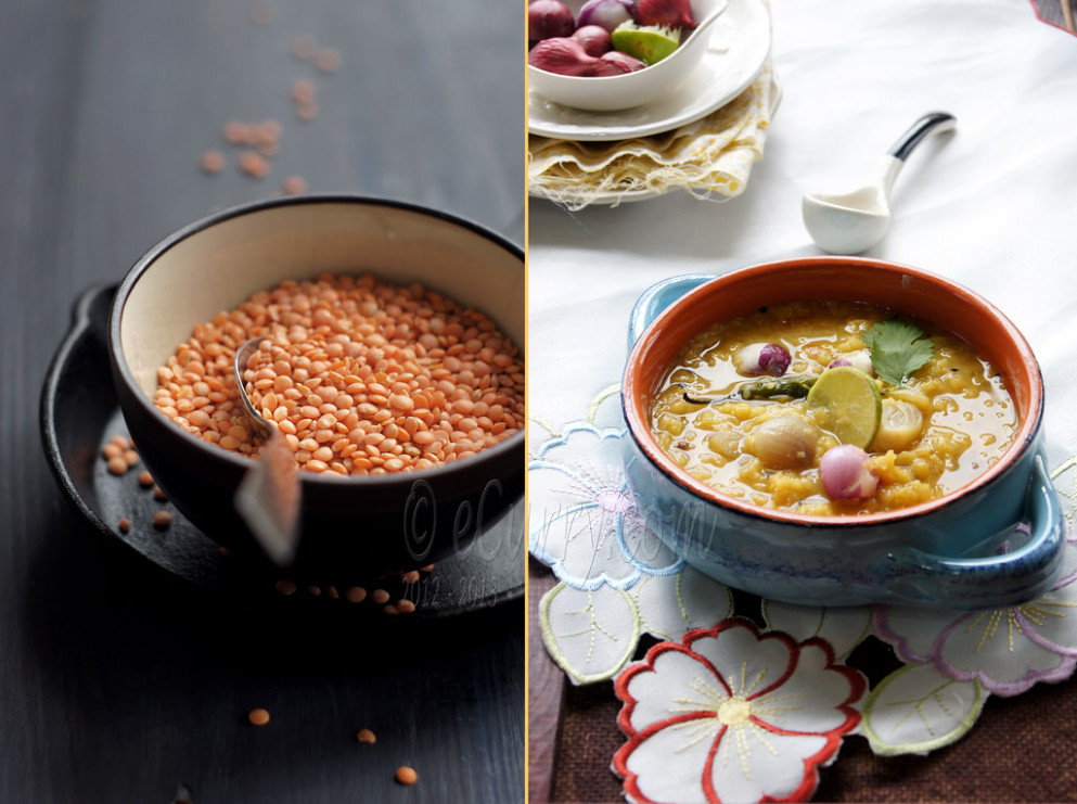 Dal Chenchki - Red Lentils with Pearl Onions Diptych 1 - recipe vegetarian red curry