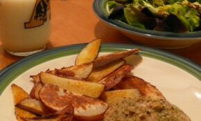Day 2: Breadcrumb Covered Baked Chicken With Healthy Fries And A Salad – Diet Recipes Dinner