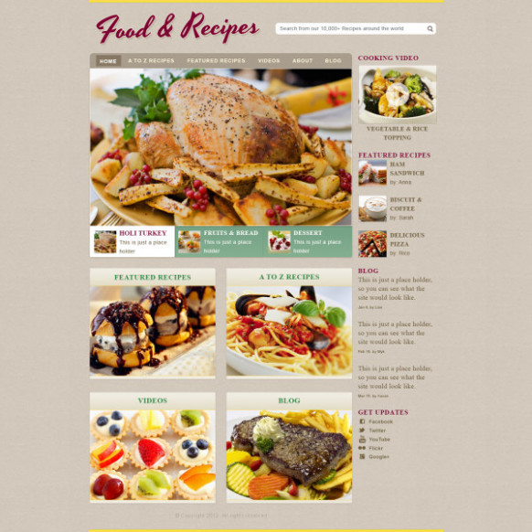 Delicate food with recipes website template free download - food recipes video download