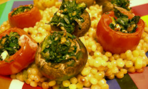 Delicious Stuffed Mushrooms And Tomatoes Over Israeli Couscous – Recipes With Couscous Vegetarian
