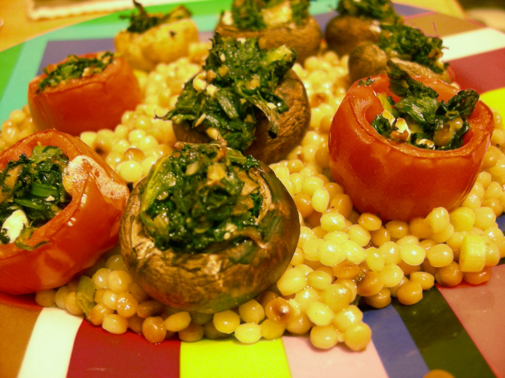 Delicious Stuffed Mushrooms And Tomatoes Over Israeli Couscous - Recipes With Couscous Vegetarian