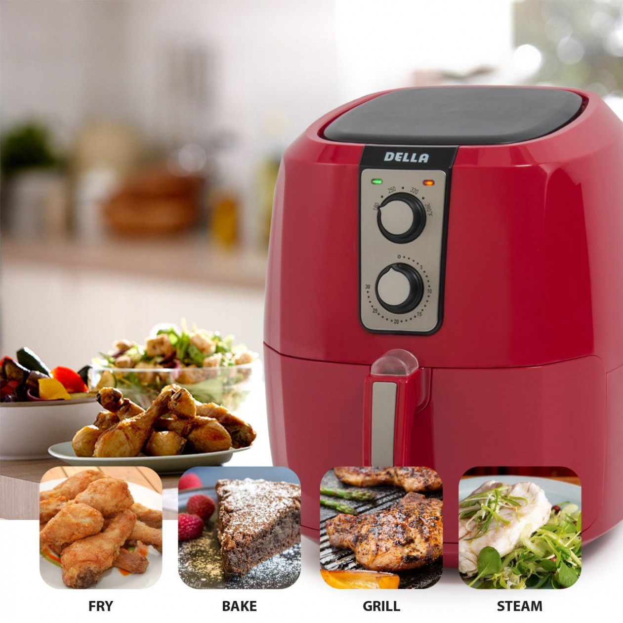 Della Low Fat Healthy Multi Cooker Rapid Air Circulation System XL Electric  Air Fryer, 10