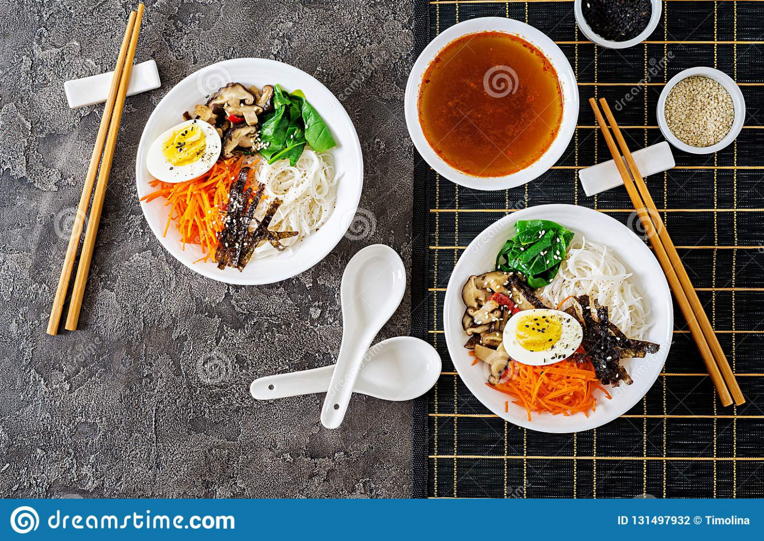 Diet Vegetarian Bowl Of Noodle Soup Of Shiitake Mushrooms ..