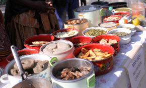 Dishes prepared on site for a food fair held in the Barotse floodplain, Zambia. The food was judged in a competition for the most nutritious dish.