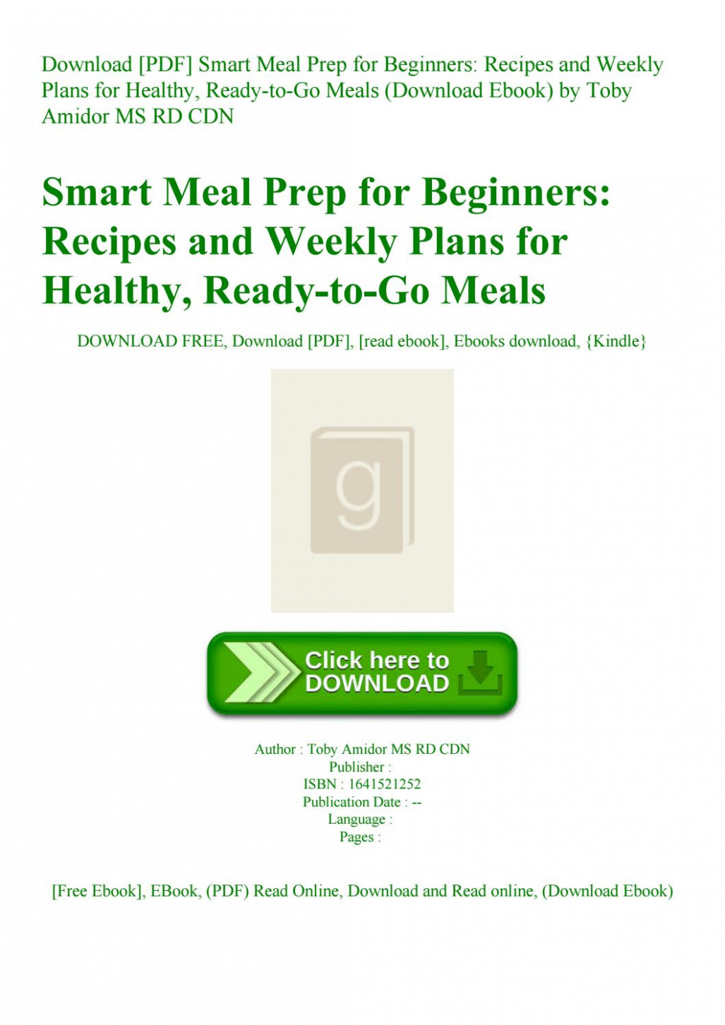 Download [PDF] Smart Meal Prep for Beginners Recipes and ..