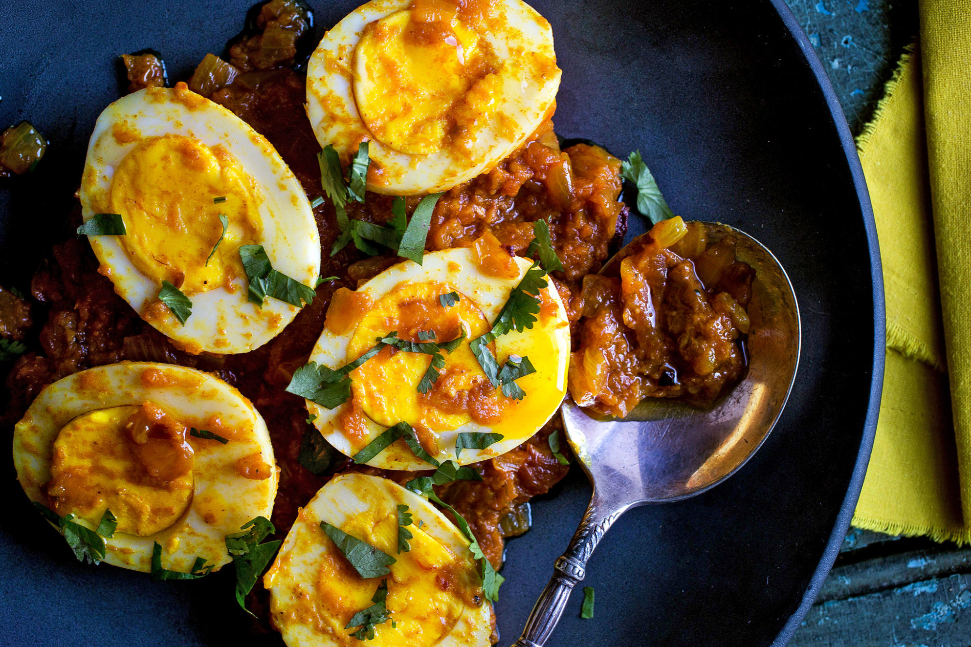 Dress up hard-boiled eggs with bold flavors in this Indian curry  sauce.CreditCredit..