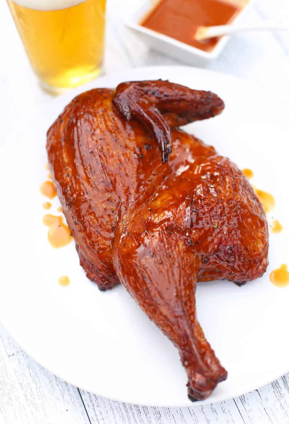 Dry Brined Smoked Chicken with a Carolina Glaze - Vindulge - chicken recipes dry