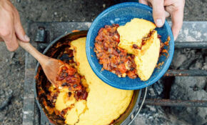 Dutch Oven Vegetarian Chili & Cornbread