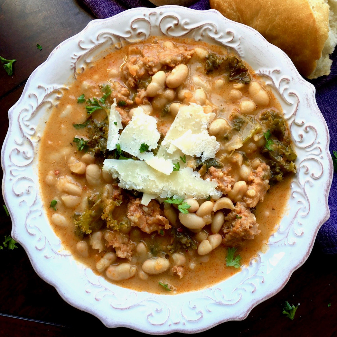 Dutch Oven White Bean, Spicy Sausage and Kale Soup - dutch oven recipes vegetarian