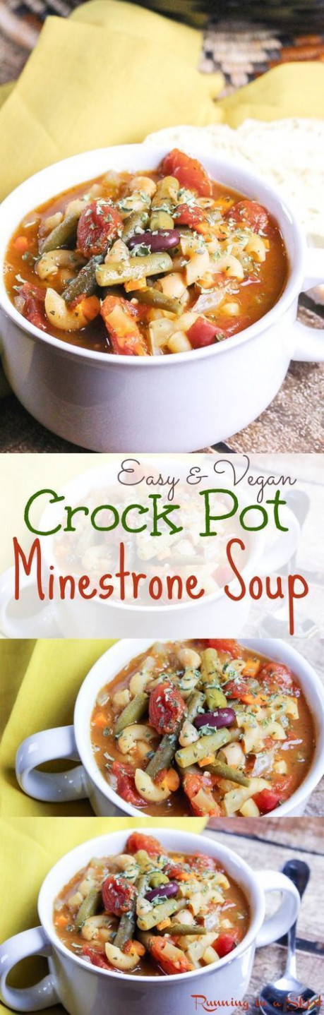 Easy & Vegetarian Crock Pot Minestrone Soup recipe ..