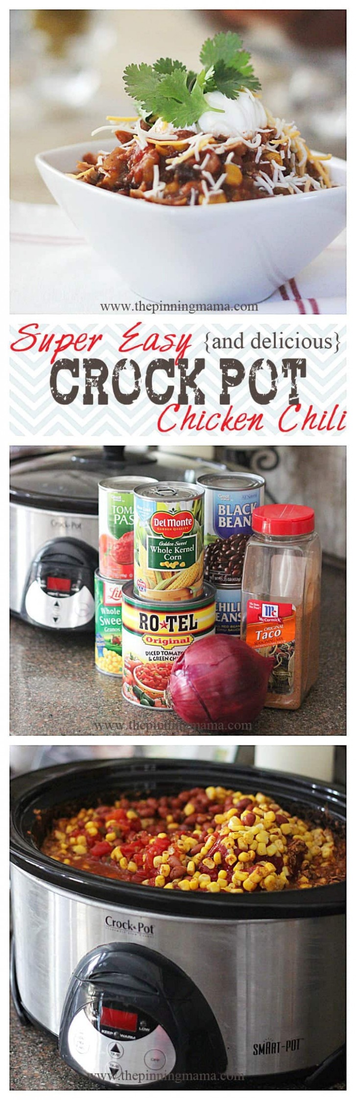 Easy and Delicious Crock Pot Chicken Chili | The Pinning Mama - easy crock pot recipes chicken