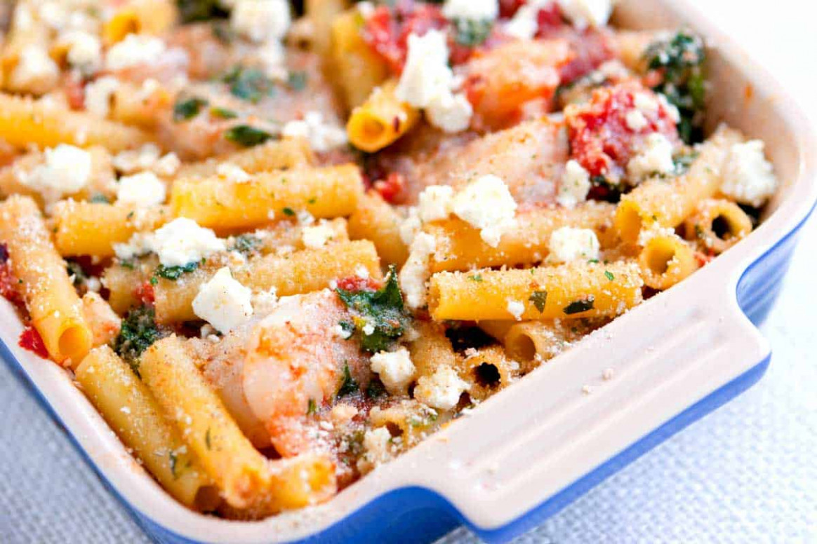 Easy Baked Ziti Recipe with Shrimp and Spinach - food recipes ziti