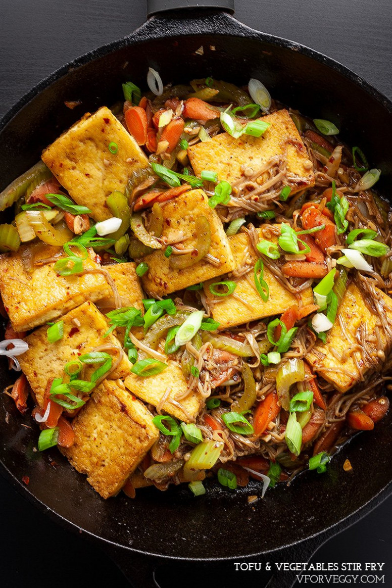 Easy Chinese Tofu & Vegetables Stir Fry - Recipes Vegetarian Stir Fry
