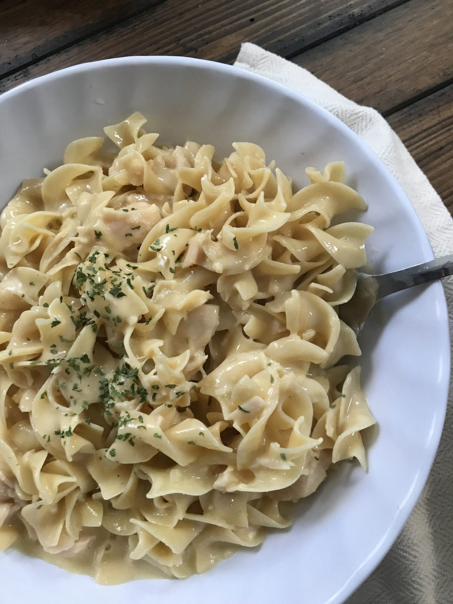 Easy Creamy Chicken with Noddles - Pound Dropper - recipes kirkland canned chicken breast