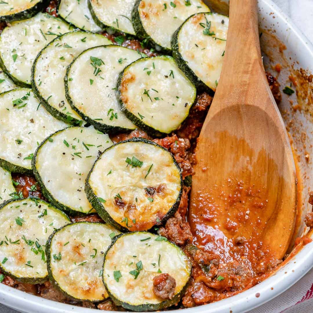 Easy Greek Zucchini Moussaka Recipe | Healthy Fitness Meals - healthy zucchini recipes side dish